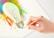 Hand drawing colorful idea light bulb with a pen Royalty Free Stock Images
