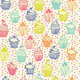 Cute colorful seamless pattern with cupcakes background. Hand drawing colorful outlined colorful seamless pattern with cupcakes, cute background vector illustration