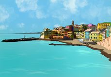Hand drawing Bogliasco village in Italy royalty free stock image