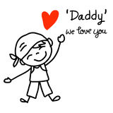 Hand drawing concept cartoon character happy fathers day. son sh Royalty Free Stock Photos