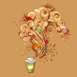 Coffee to go with pastry concept Stock Images
