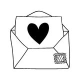 hand drawing of contour envelope mail with heart Royalty Free Stock Photos