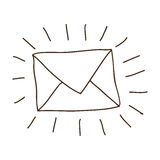 hand drawing of contour envelope mail Royalty Free Stock Photos