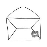 Hand drawing of contour envelope mail open Royalty Free Stock Image