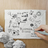 Hand drawing creative business strategy on crumpled paper Stock Photo