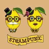Hand drawing creative design with mister and miss Lemon in the steampunk style. It can be used for interior design and twin shirts. Cartoon retro lemon for royalty free illustration