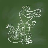 Hand drawing Crocodile Cartoon on Green board -Vector illustrati Stock Photo