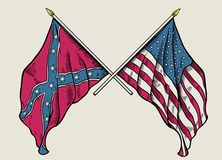Hand drawing of crossing union flag and confederate flag royalty free stock photography