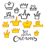 Hand drawing crowns Stock Photography