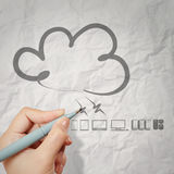 Hand drawing crumpled paper Cloud Computing Stock Photography