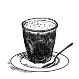 Hand drawing, cup of coffee -Vector Sketch Illustration Stock Photos