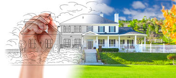 Hand Drawing Custom House Design With Gradation Revealing Photog. Raph Royalty Free Stock Image