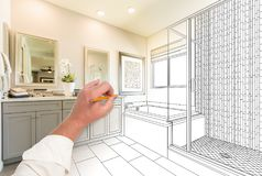 Hand Drawing Custom Master Bathroom with Cross Section. Of Finished Photograph royalty free stock photos