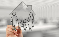 Hand drawing 3d house with family icon Stock Photography