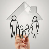 Hand drawing 3d house wtih family icon Stock Images