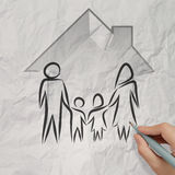 Hand drawing 3d house wtih family icon Royalty Free Stock Image