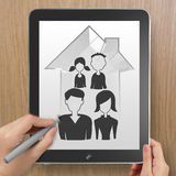 Hand drawing 3d house wtih family icon Royalty Free Stock Photos