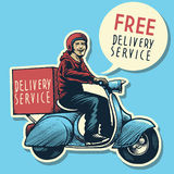 Hand drawing of delivery service man riding a scooter Stock Photo