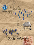 Hand drawing diagram of social network structure with crumpled r Stock Photo