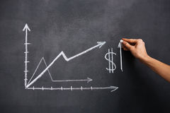 Hand drawing dollar growth chart on blackboard Stock Photo