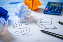Hand drawing a dollar sign and euro sign Royalty Free Stock Photography