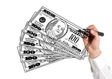 Hand drawing dollars Stock Photography