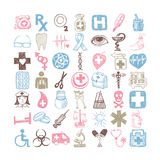 49 hand drawing doodle different icon set medical theme. Sketchy vector illustration collection Stock Image