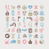 49 hand drawing doodle different icon set, sketchy. Vector illustration royalty free illustration