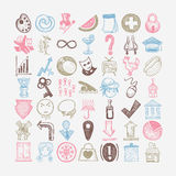 49 hand drawing doodle different icon set. Sketchy vector illustration collection royalty free illustration