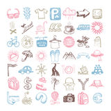 49 hand drawing doodle different icon set about travel. Sketchy vector illustration collection royalty free illustration