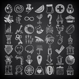 49 hand drawing doodle icon set. On black background vector illustration