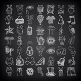 49 hand drawing doodle icon set. On black background royalty free illustration