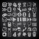 49 hand drawing doodle icon set on black Stock Photos