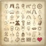 49 hand drawing doodle icon set. On grunge background vector illustration