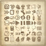 49 hand drawing doodle icon set. On grunge background stock illustration