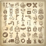 49 hand drawing doodle icon set. On grunge background royalty free illustration