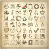 49 hand drawing doodle icon set. On grunge paper background royalty free illustration