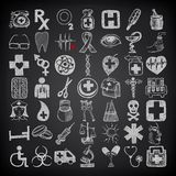 49 hand drawing doodle icon set, medical theme on. Black background Royalty Free Stock Photos