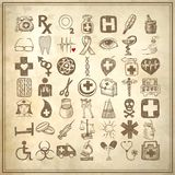49 hand drawing doodle icon set, medical theme. 49 hand drawing doodle icon set on grunge paper background, medical theme stock illustration