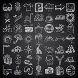 49 hand drawing doodle icon set, travel theme on. Black backgraund vector illustration