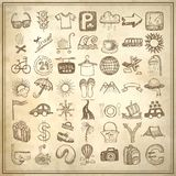 49 hand drawing doodle icon set, travel theme. 49 hand drawing doodle icon set on grunge paper background, travel theme Vector Illustration