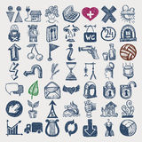 49 hand drawing doodle icon set. Vector illustration royalty free illustration