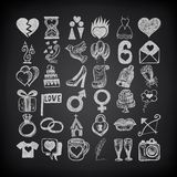36 hand drawing doodle icon set, wedding sketchy. Illustration on black background Stock Photos