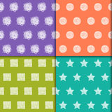 Hand-drawing doodle seamless patterns set. Royalty Free Stock Image