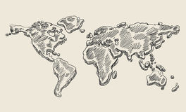 Hand drawing doodle world map. Vintage earth vector sketch. Royalty Free Stock Photography
