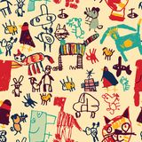 Hand drawing doodles color seamless pattern. Stock Photography