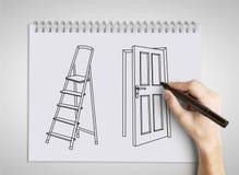 Hand drawing door Stock Images
