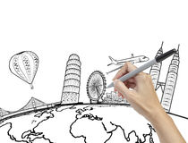 Hand drawing the dream travel around the world. On white stock photo