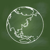 Hand drawing Earth on Green board, Asia and Australia -Vector illustration Royalty Free Stock Images