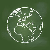 Hand drawing Earth on Green board, Europe, Asia and Africa -Vector illustration. Hand drawing of the Earth on textured green board Europe, Asia and Africa Royalty Free Stock Photos
